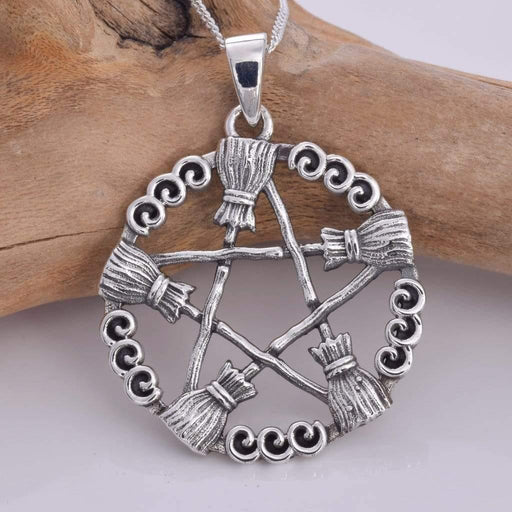 Besom Pentagram Solid 925 Sterling Silver Pendant - GOLDENHANDS