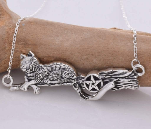 Cat on a Broomstick Solid 925 Sterling Silver Necklace - GOLDENHANDS