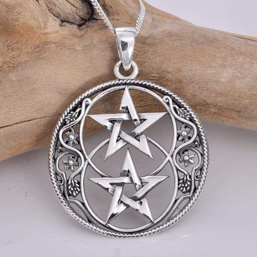 Chalice Well And Pentagram Solid 925 Sterling Silver Pendant - GOLDENHANDS
