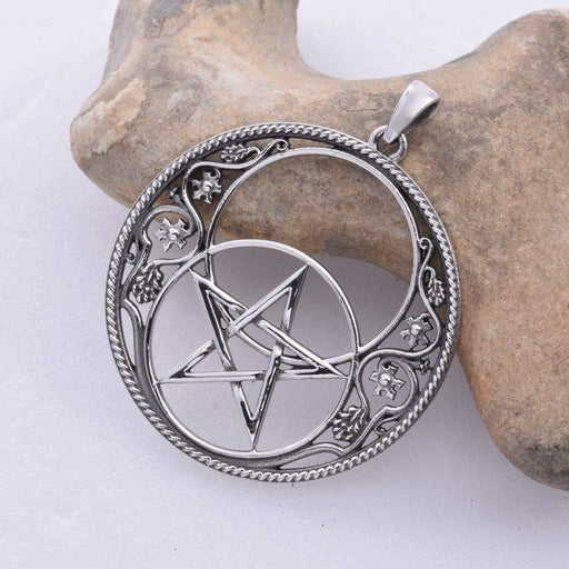 Chalice Well Pentacle Solid 925 Sterling Silver Pendant - GOLDENHANDS