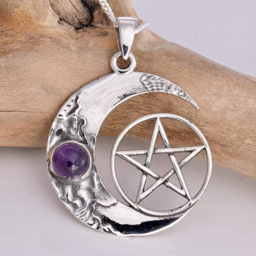 Crescent Moon and Pentagram Solid 925 Sterling Silver Pendant - GOLDENHANDS