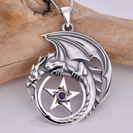 Dragon And Pentagram Solid 925 Sterling Silver Pendant - GOLDENHANDS