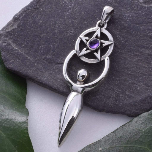 Goddess with Pentacle Solid 925 Sterling Silver Pendant - GOLDENHANDS