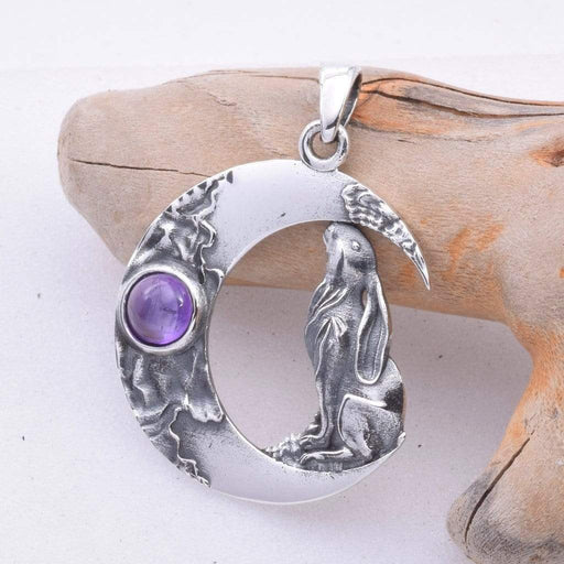 Moon Gazing Hare Solid 925 Sterling Silver Pendant - GOLDENHANDS