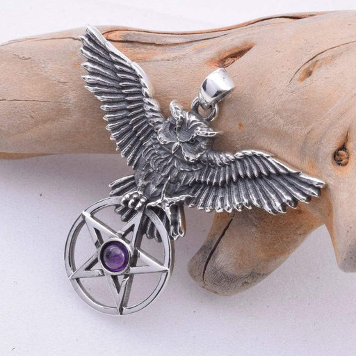 Owl's Flight Solid 925 Sterling Silver Pendant - GOLDENHANDS