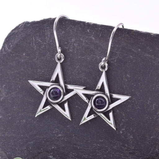 Pentagram and Amethyst Solid 925 Sterling Silver Earrings - GOLDENHANDS