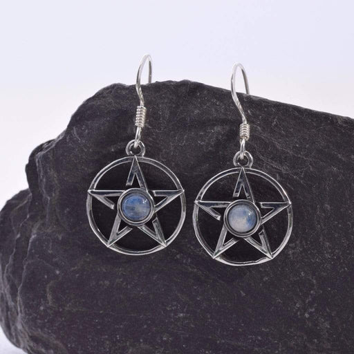 Pentagram Moonstone Solid 925 Sterling Silver Earrings - GOLDENHANDS