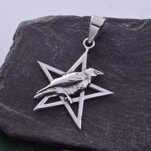 Raven on Pentagram Solid 925 Sterling Silver Pendant - GOLDENHANDS
