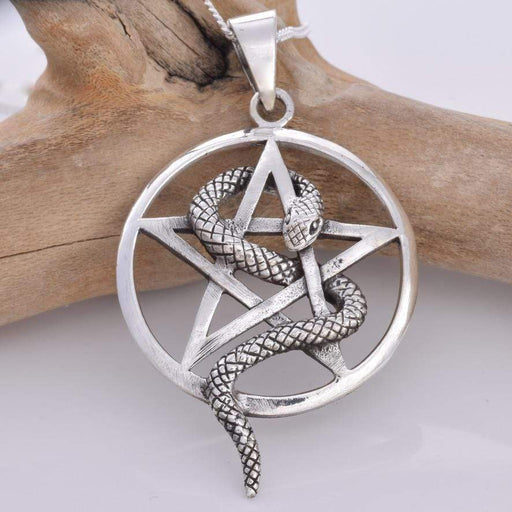 Snake and pentagram silver Solid 925 Sterling Silver pendant - GOLDENHANDS