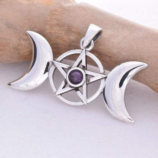 Triple Moon Solid 925 Sterling Silver pendant - GOLDENHANDS