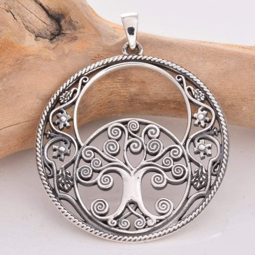 Vesica Piscis Tree Of Life Solid 925 Sterling Silver Pendant - GOLDENHANDS