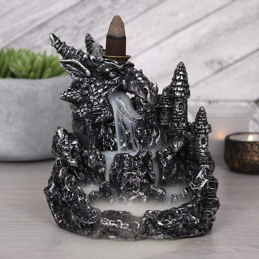 Silver Dragon Backflow Incense Cone Burner With Light - GOLDENHANDS