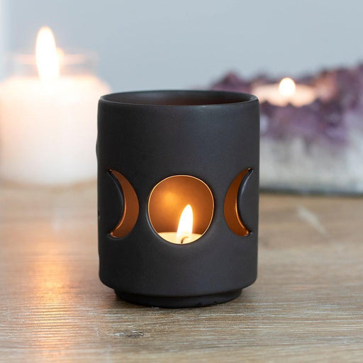 Small Black Triple Moon Cut Out Tealight Holder - GOLDENHANDS