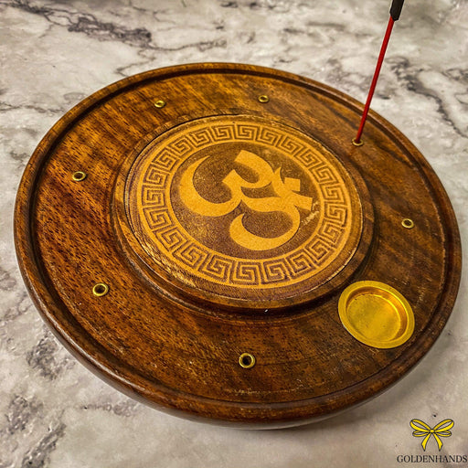 Om Incense Plate with Brass Inlay - GOLDENHANDS