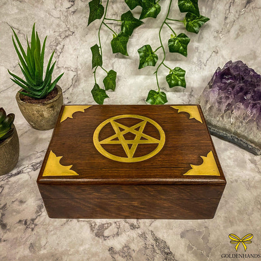 Pentagram Wooden Box with Brass Inlay - GOLDENHANDS
