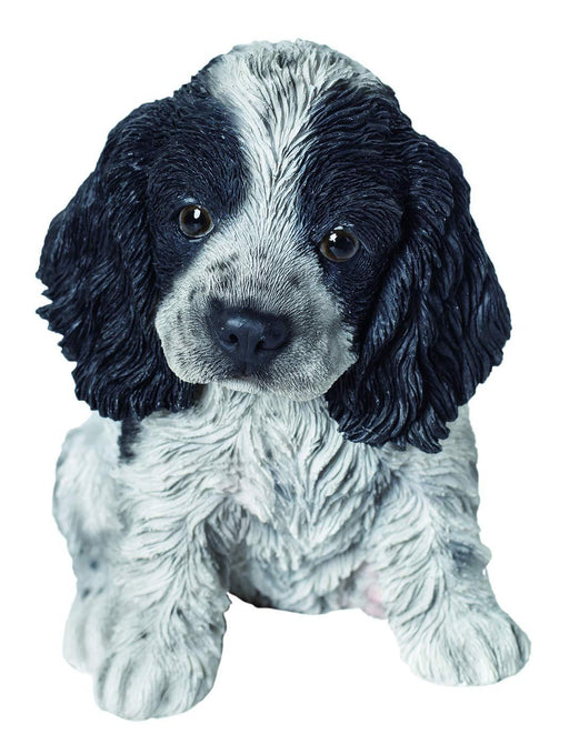 Black And White Cocker Spaniel Puppy Pet Pals Home or Garden Decoration - GOLDENHANDS