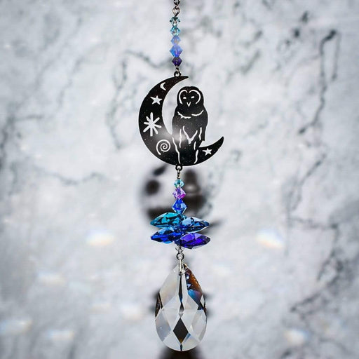 Barn Owl on Moon Hanging Crystal Fantasy Rainbow Maker with Swarovski® Crystal - GOLDENHANDS