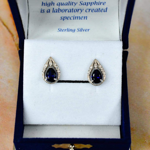 Sapphire Bindi Style Drop Crystal Cubic Zirconia Solid 925 Sterling Silver Stud Earring - GOLDENHANDS