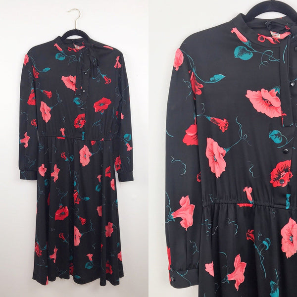 1970's blouson dress black floral print, 12