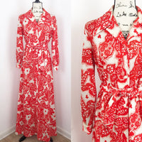 Vintage 1970's asian inspired printed maxi dress, 16 large