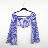 Nasty Gal blue stripe bell sleeve crop top, 6 small