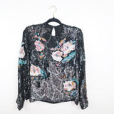 Vintage 1980's Judith ann creations floral sequin top, small