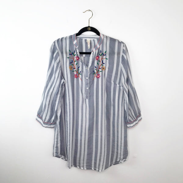 RAGA Striped embroidered tunic blouse, large