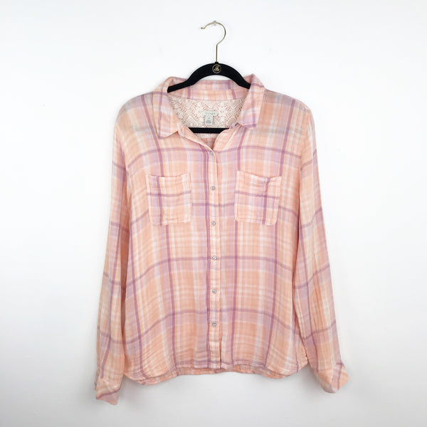 Hinge peach & purple flannel shirt, extra large
