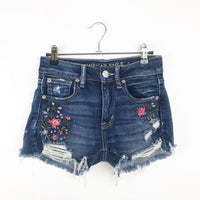 American Eagle embroidered high rise jean shorts, 2 xsmall