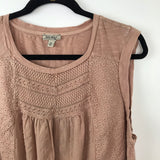 Lucky brand pink embroidered sleeveless blouse, 2x plus size