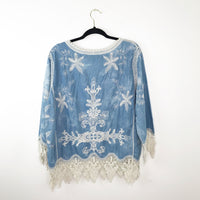 Blue embroidered crochet feather lace up blouse, medium