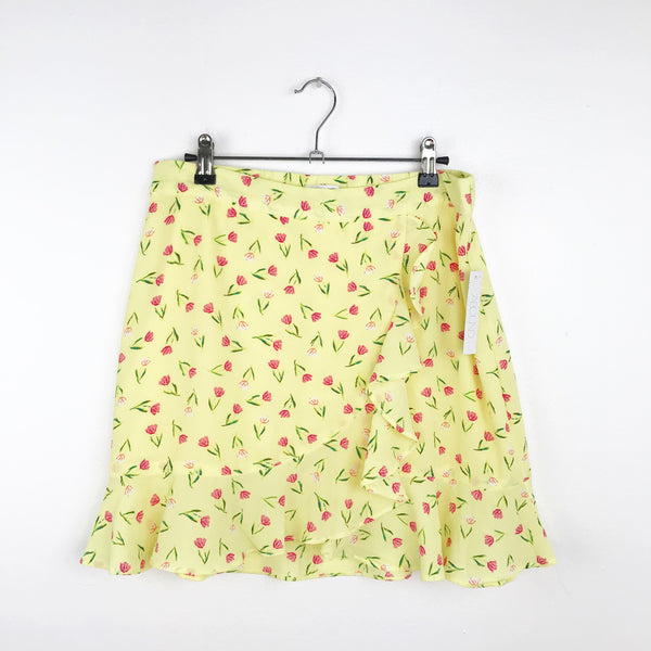 Abound neon floral printed faux wrap skirt, medium