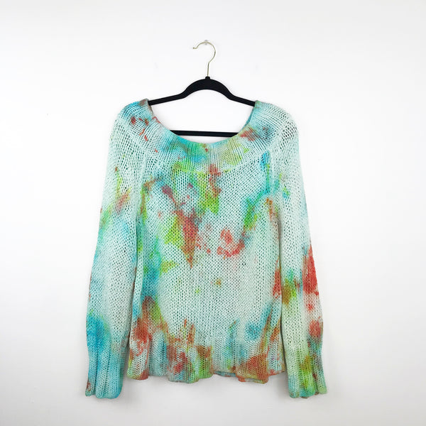 Free people tie dye off shoulder sweater, large