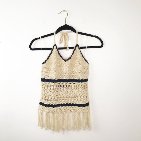 Crochet striped halter top paper crane, xsmall