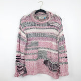 Anthropologie sparrow pink multi knit sweater, large
