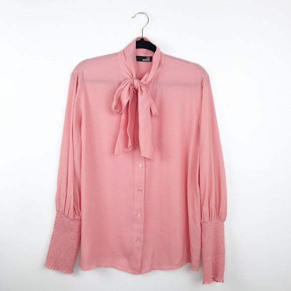 Love moschino pink bow tie blouse, 10 medium