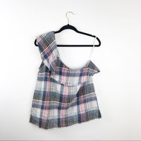Cloth & stone plaid ruffle one shoulder top, large