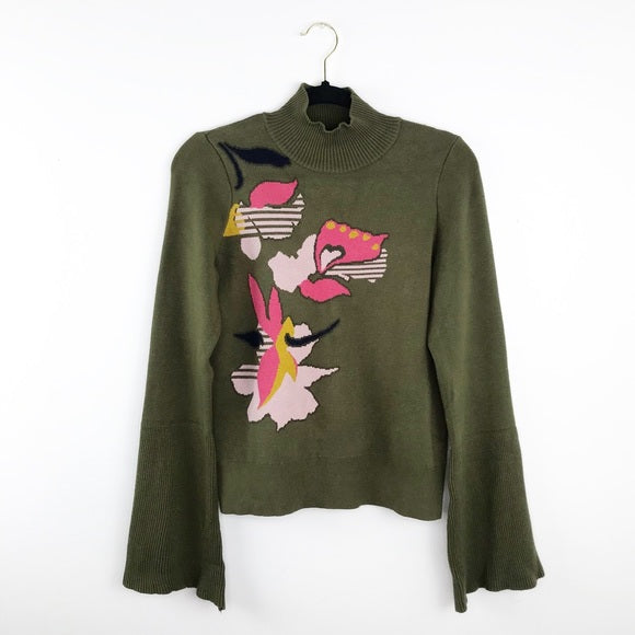anthropologie embroidered lilease sweater floral bell sleeve, medium