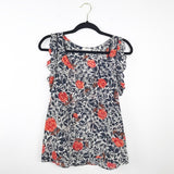 Joie rose silk printed ruffle sleeveless blouse, xsmall
