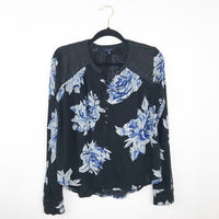 Lucky brand blue floral embroidered blouse, medium