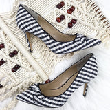 Ann Taylor gingham print bow pointy toe heels, 10