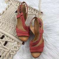 Anthropologie NAYA pink leather wedge sandals, 8