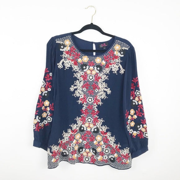 Mickey London navy heavily embroidered blouse, medium