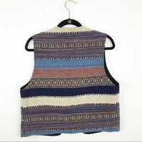 80's southwestern knit button vest, large
