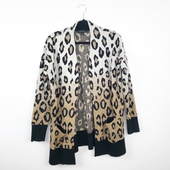 Ann Taylor leopard printed cardigan open front, medium