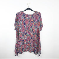Bohemian printed swing blouse, 2x plus size