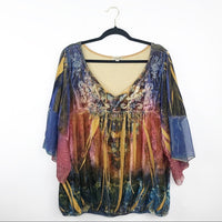 One world boho velvet embroidered blouse, 3x plus size