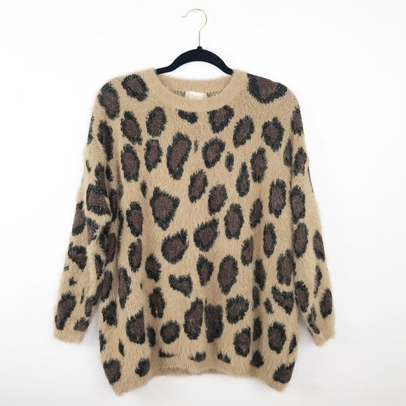 Altar'd state leopard fuzzy sweater, xsmall / small