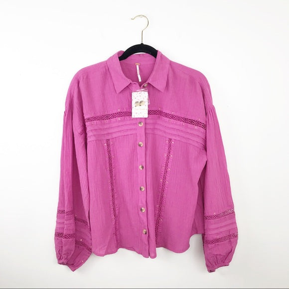Free people summer stars button down in pink, medium