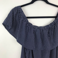 Madewell 100% silk navy striped off shoulder top, extra large